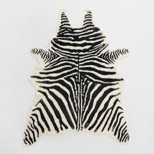 Black And White Zebra Area Rug Black And Ivory Faux Zebra Hide Area Rug World Market
