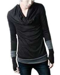 Sweater With Thumb Holes Mens Cowl Neck T Shirt With Thumb Holes Long Sleeve Tshirt For