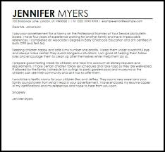 nanny cover letter example sample nanny cover letter 3 free