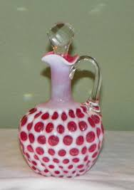 Antique Cranberry Glass Vase Victorian Eapg Hobbs Brockunier Cruet Windows Cranberry Glass