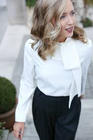 blouse with tie neck pinstripe wideleg trousers tie neck blouse memorandum
