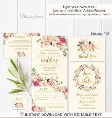floral wedding invitation template ivory boho chic wedding invite