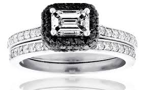 black diamond bridal set ring black diamond wedding ring sets gypsysoul white gold black