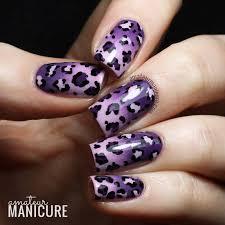 neon zebra print and leopard print nail art design