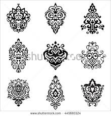 set vector graphic abstract damask flower stock vector 314187341