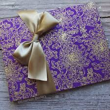 purple wedding guest book wedding guest book purple and gold flowers made upon order