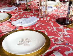 tables white plate red table sheet wine glass golden candle