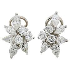 diamond cluster earrings vintage and co 3 00 carat diamond cluster earrings c 1970s