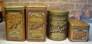 vintage kitchen canister set 4 vintage cheinco chein tin canister set retro kitchen sugar flour