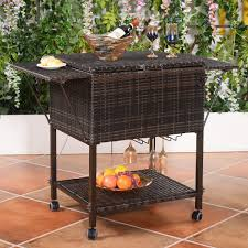 Patio Table Cooler by Amazon Com Wicker Cooler Cart Outdoor Serving Cart With Wheels