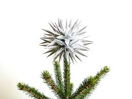 modern silver tree topper paper decoration