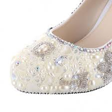 Wedding Shoes For Bride Comfortable Velcans Com Velcans Wedding Shoes With Colorful Rhinestone Ivory