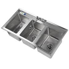 3 bay stainless steel sink regency 3 compartment 37 x 19 stainless steel kitchen drop in sink