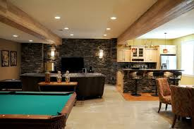 exposed wood frame sofa interior lavish basement living room interior ideas with grey