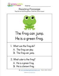 kindergarten reading passages frog a wellspring
