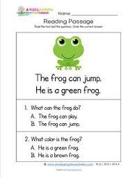 kindergarten reading passage kindergarten reading passages frog a wellspring