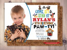puppy party invitation puppy paw ty paw party birthday baby
