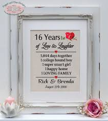 anniversary gifts for parents sixteenth wedding anniversary gifts nudlux