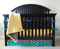Black And Yellow Crib Bedding Custom Crib Bedding Yellow Black And Turquoise On Etsy 333 02