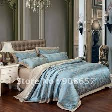 Embroidered Duvet Cover Sets Queen Bedding Sets Blue Jacquard Embroidered Duvet Covers Set For