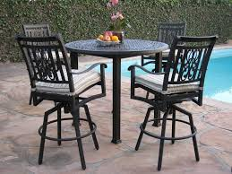 Outdoor Bar Table Set Cbm Heaven Collection Cast Aluminum 5 Piece Outdoor Bar Set