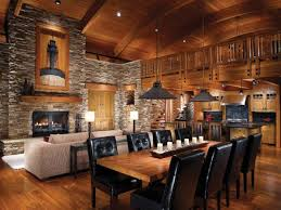 attractive log cabin living room ideas using industrial style