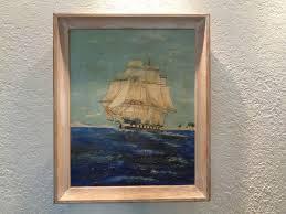 ship voyage vintage nautical painting on canvas board original frame empressionism