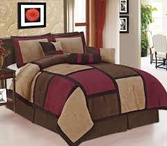 Beautiful Comforters Amazon Com 7 Pc Modern Beige Burgundy Brown Suede Comforter Set