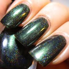 black forest deep forest green holographic nail polish baroness x