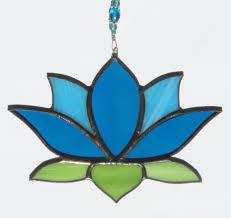 stained glass blue lotus flower suncatcher by sunriseglassstudio