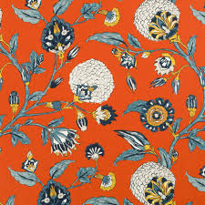 dwellstudio for ra home auretta fabric in persimmon fabric