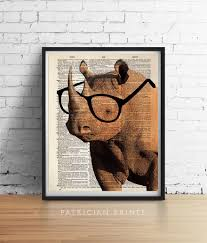 smart rhino wearing glasses print african safari animals