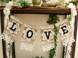 Shabby Chic Banner by Wedding Love Burlap Banner Vintage Lace Rustic Chic Bunting Shabby