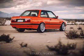 bmw e30 stanced the h u0026r fire orange bmw e30 318is restoration classic bmw