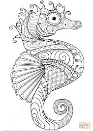sea horse zentangle coloring page free printable coloring pages