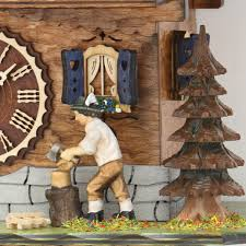 Chalet Style Chalet Style Quartz Cuckoo Clock With Lumberjack And Horse 31cm By
