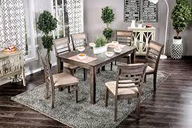 taylah transitional style 7 pcs weathered gray finish dining table set