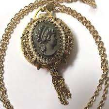 cameo gold necklace images Vintage cameo watch pendant necklace trice rare gold tone faux jpg