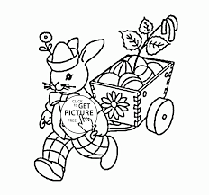 easter bunny with easter eggs coloring page for kids coloring