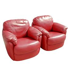 Red Leather Reclining Chair Pair Of Natuzzi Red Leather Swivel Rockers Ebth