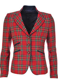 Bariloche Bulgaria Tartan Print Blazer Jacket Red Mcelhinneys