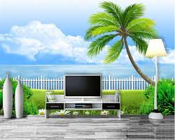 popular wallpaper palm tree buy cheap wallpaper palm tree lots beibehang high definition balcony creative fashion wallpaper scenery palm trees indoor interior wall 3d wallpaper