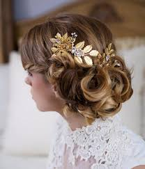 gold hair accessories gold hair pin and comb set decorated with pearls 2048057 weddbook