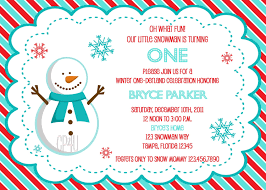 snowman winter onederland invitation for boys and girls