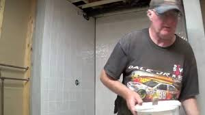 diy basement bathroom part 6 installing tile board youtube