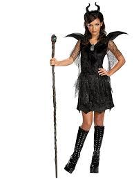 Tween Minnie Mouse Halloween Costume Maleficent Black Gown Deluxe Teen Costume Disney Villain Girls