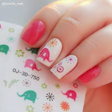 1 96 1 sheet cute elephant 3d nail art stickers cartoon heart