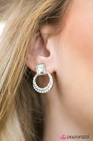 top earing featuring a sparkly emerald cut a glittery white rhinestone
