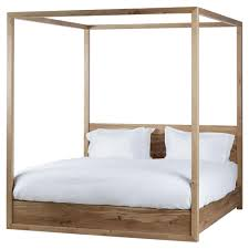 Poster Bed by Alamo Coastal Rustic Oak Wood Poster Bed Queen Kathy Kuo Home