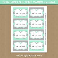 mint and gray candy buffet labels for bridal shower wedding